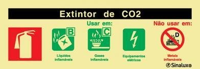 Sinal de agente extintor de CO2 240X85 mm